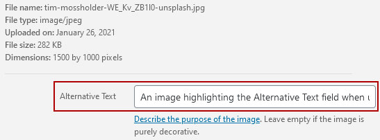 An image highlighting the Alternative Text field when uploading an image in WordPress